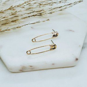 5 for $25 Gold Color Safety Pin Earrings